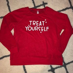 "Xhilaration Red sweater ""treat yourself"" size L"